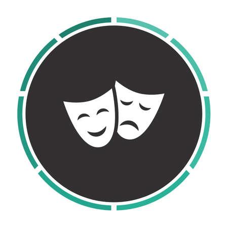 masks Simple flat white vector pictogram on black circle. Illustration icon