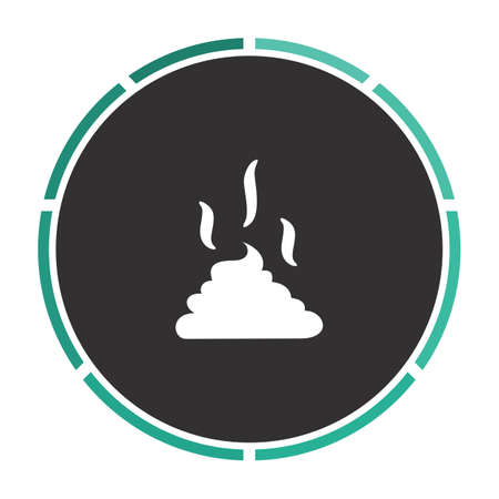 happens: Poop Simple flat white vector pictogram on black circle. Illustration icon