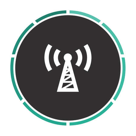 wireles: Transmitter Simple flat white vector pictogram on black circle. Illustration icon Illustration