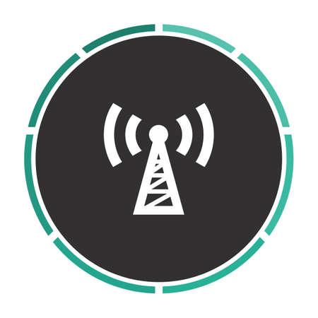 Transmitter Simple flat white vector pictogram on black circle. Illustration icon Illustration