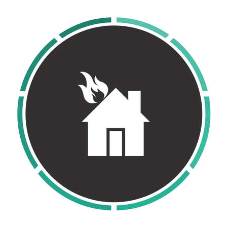 house on fire: house fire Simple flat white vector pictogram on black circle. Illustration icon