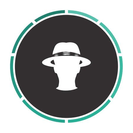 agent Simple flat white vector pictogram on black circle. Illustration icon