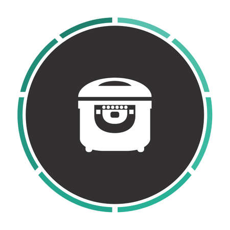 slow food: electric pan Simple flat white vector pictogram on black circle. Illustration icon Illustration