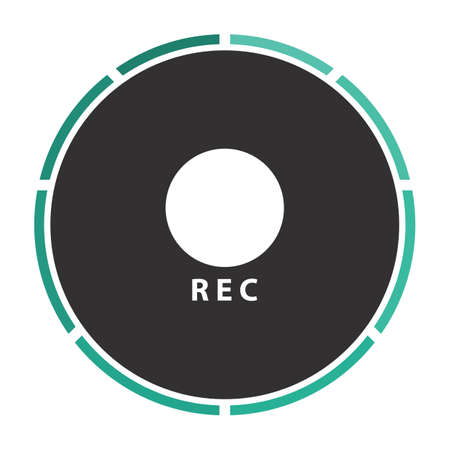 rec: Rec Simple flat white vector pictogram on black circle. Illustration icon Illustration