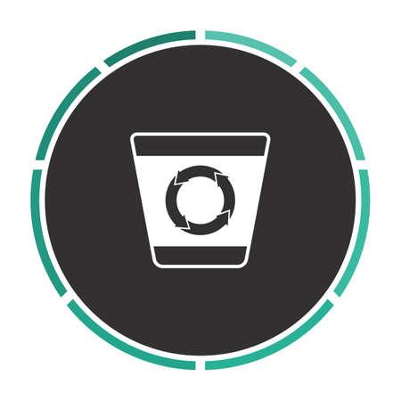 refuse bin: Recycle bin Simple flat white vector pictogram on black circle. Illustration icon Illustration