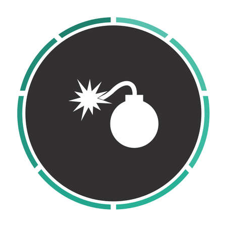 bombshell: Bomb Simple flat white vector pictogram on black circle. Illustration icon