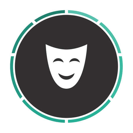 comedy mask: comedy mask Simple flat white vector pictogram on black circle. Illustration icon