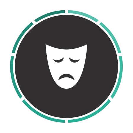 tragedy mask: tragedy mask Simple flat white vector pictogram on black circle. Illustration icon