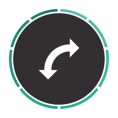 reversed: U-Turn Simple flat white vector pictogram on black circle. Illustration icon