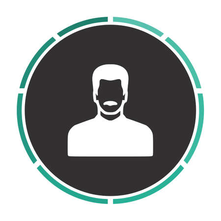 mustached: mustached man Simple flat white vector pictogram on black circle. Illustration icon