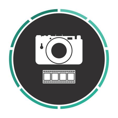 journalistic: Camera Simple flat white vector pictogram on black circle. Illustration icon