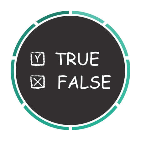 true or false: True and False Simple flat white vector pictogram on black circle. Illustration icon Illustration