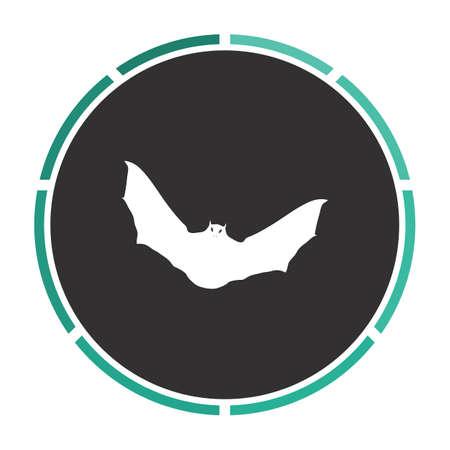 nocturne: Bat Simple flat white vector pictogram on black circle. Illustration icon Illustration