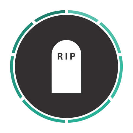 protestant: Grave Simple flat white vector pictogram on black circle. Illustration icon Illustration