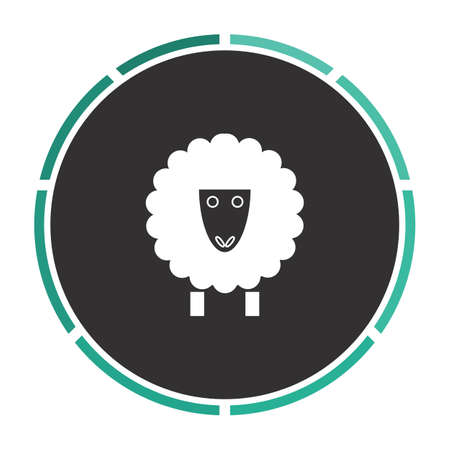 cloven: Sheep Simple flat white vector pictogram on black circle. Illustration icon Illustration