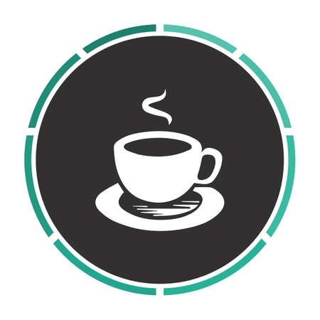 turkish dessert: Hot coffe Simple flat white vector pictogram on black circle. Illustration icon Illustration