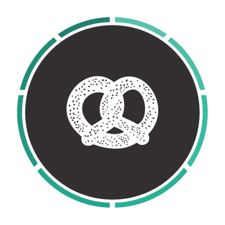 bretzel: Pretzel Simple flat white vector pictogram on black circle. Illustration icon