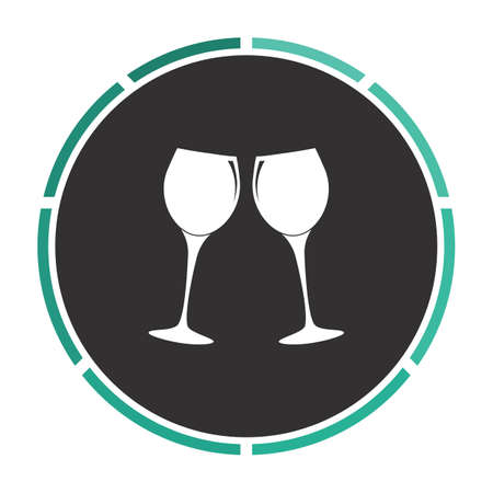 clink: clink glasses Simple flat white vector pictogram on black circle. Illustration icon