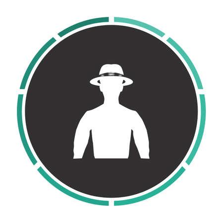 maverick: macho Simple flat white vector pictogram on black circle. Illustration icon