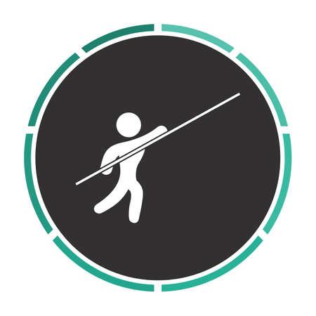 pole vault: Pole vault Simple flat white vector pictogram on black circle. Illustration icon