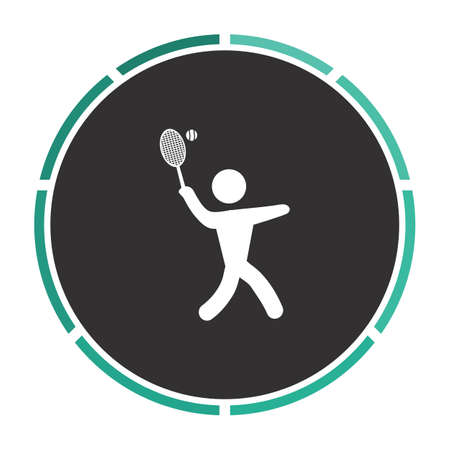 active content: tennis Simple flat white vector pictogram on black circle. Illustration icon Illustration