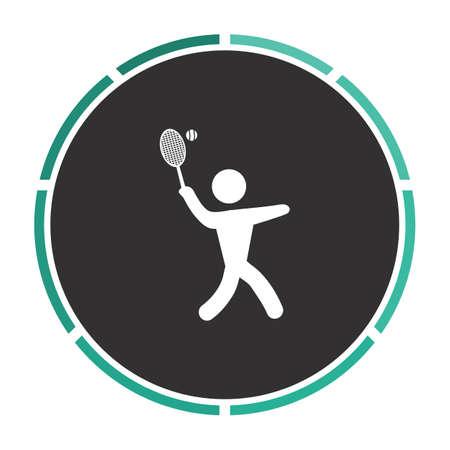 tennis Simple flat white vector pictogram on black circle. Illustration icon Illustration