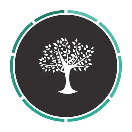 maple tree: Maple tree Simple flat white vector pictogram on black circle. Illustration icon