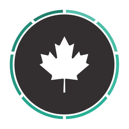 canadian icon: Canadian Leaf Simple flat white vector pictogram on black circle. Illustration icon