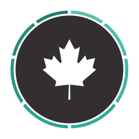 Canadian Leaf Simple flat white vector pictogram on black circle. Illustration icon