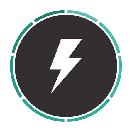 lighting bolt Simple flat white vector pictogram on black circle. Illustration icon