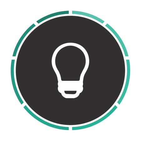led bulb: Led Bulb Simple flat white vector pictogram on black circle. Illustration icon
