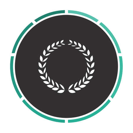 rewarding: triumph wreath Simple flat white vector pictogram on black circle. Illustration icon Illustration