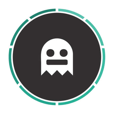 poltergeist: ghost Simple flat white vector pictogram on black circle. Illustration icon