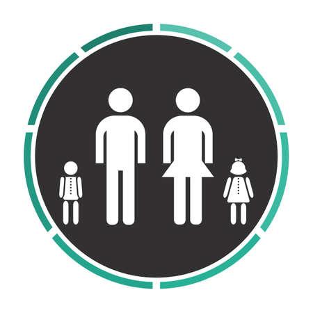 black family: Happy Family Simple flat white vector pictogram on black circle. Illustration icon