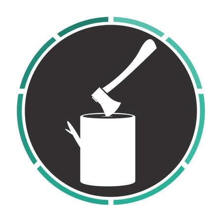felling: lumberjack Simple flat white vector pictogram on black circle. Illustration icon Illustration