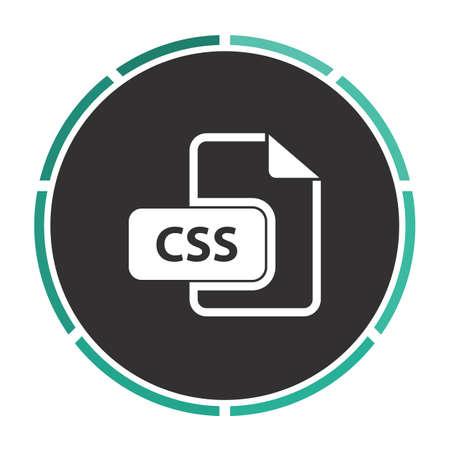 css: CSS Simple flat white vector pictogram on black circle. Illustration icon Illustration