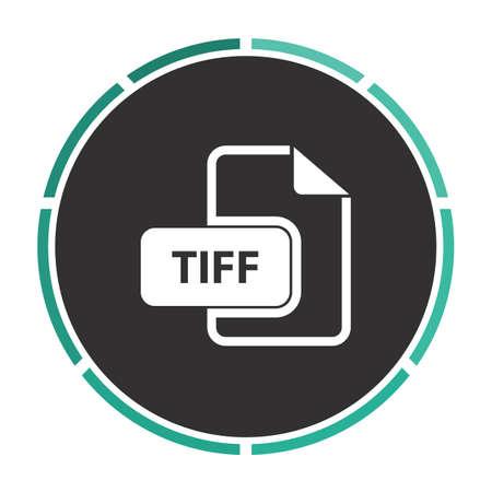 tiff: TIFF Simple flat white vector pictogram on black circle. Illustration icon