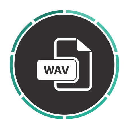 wav: WAV Simple flat white vector pictogram on black circle. Illustration icon Illustration