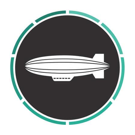 blimp: blimp Simple flat white vector pictogram on black circle. Illustration icon