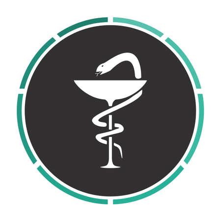 taught: Pharmacy Simple flat white vector pictogram on black circle. Illustration icon Illustration