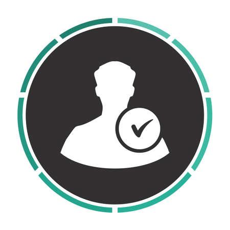 userpic: User Simple flat white vector pictogram on black circle. Illustration icon Illustration