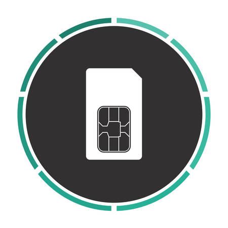 sim card: Sim card Simple flat white vector pictogram on black circle. Illustration icon Illustration
