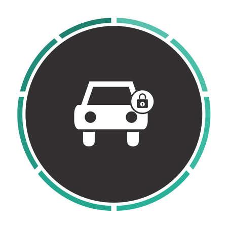 car lock: Car lock Simple flat white vector pictogram on black circle. Illustration icon Illustration