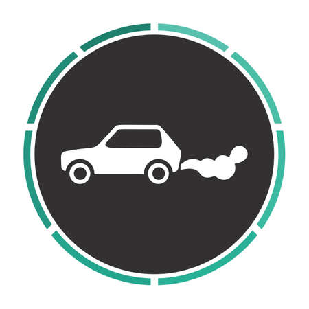 smog: contamination Simple flat white vector pictogram on black circle. Illustration icon