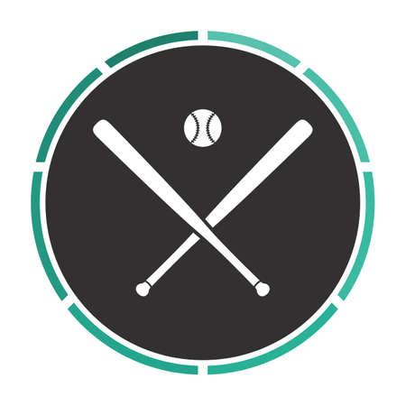 bunt: baseball Simple flat white vector pictogram on black circle. Illustration icon Illustration