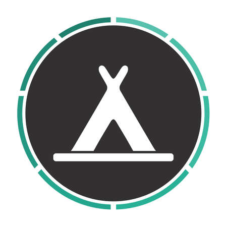 wigwam: Wigwam Simple flat white vector pictogram on black circle. Illustration icon Illustration
