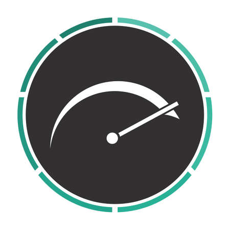 tachometer: tachometer Simple flat white vector pictogram on black circle. Illustration icon