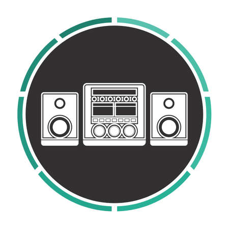 Sound System Simple flat white vector pictogram on black circle. Illustration icon
