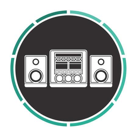 Sound System semplice piatto vettore pittogramma bianco su cerchio nero. icona Illustrazione