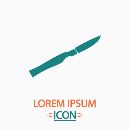 sterilized: scalpel Flat icon on white background. Simple vector illustration Illustration